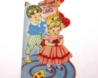 Vintage Children's Novelty Valentine Greeting Card with Little Boy Little Girl Queen Crown
