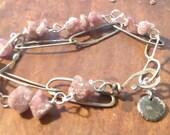 Pink Tourmaline Fine Silver and Sterling Silver Bracelet