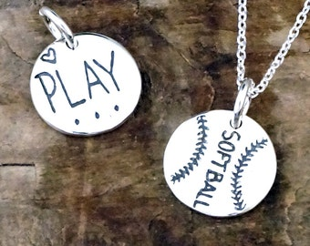 Softball Necklace - Softball Charm - Soft Ball Jewelry Gift Pendant Recycled Sterling Silver #SDC-40