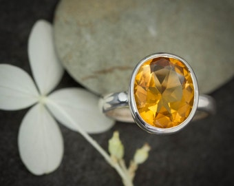Citrine Oval Ring, Large Oval Solitaire in Argentium Sterling, Ready to Ship Size 6