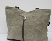 WAXED LINEN and LEATHER Tote Bag