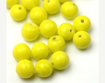 Shop Closing Sale Vintage Glass Beads Japan Bright Yellow 8mm (12) VGB108