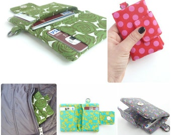 minimalist green rose womens wallet. fabric credit card organizer. teen girl gift. cloth material shabby chic business card case