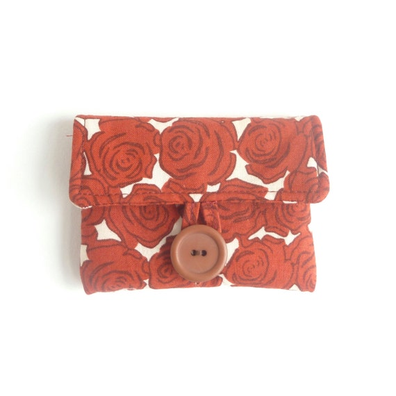 rosary pouch catholic gift. burnt sienna brick red rose fabric. baptism confirmation first communion gift. padded ear bud hearing aid pouch