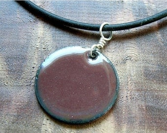 SALE Mocha Brown Copper Enamel Handmade pendant necklace 1 inch disc The Prairie Collection