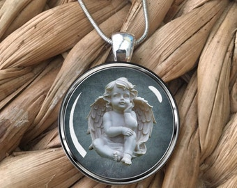 Cherub Figure Glass Pendant Necklace