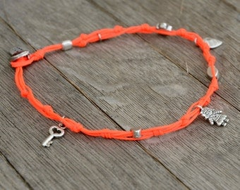 Neon Orange Hamsa and Multi Charms Anklet