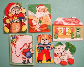 6 Vintage Christmas Cards for Kids All Signed
