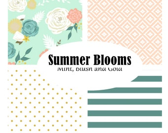 Custom Crib Bedding-3 piece-Summer Blooms-mint, blush floral modern crib bedding