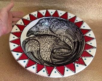 Twin Flame Raven Bowl Handpainted Original Ceramic from Taos NM