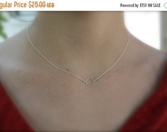 ON SALE Single Circle Necklace- Sterling Silver