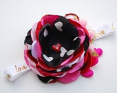 I LOVE YOU vintage inspired satin flower headband with pearls. holiday bow. couture bow. valentine bow. red hearts. red glitter.
