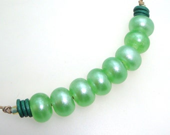 Handmade Lampwork Glass Beads - Free Spirit! 8 bead set. Sparkly pale green pixie dust.