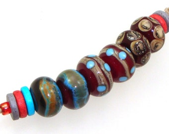 Handmade Lampwork Glass Beads - 3 pairs. Red with raku, turquoise, silvered ivory, dots. Stacked dots, earring pairs, fine silver.