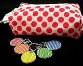 Red polka dots mini box bag and stitchmarker set for KNITTERS