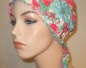 Mint Green and Coral  Chemo Scarf, Hat, Cancer Hat, Hijab, Alopecia MADE in USA