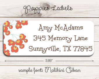 Poppies Return Address Labels