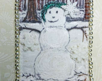 Seasonal Tiny Art Quilt Winter ATC White Snowman with Snowflake Embellishments