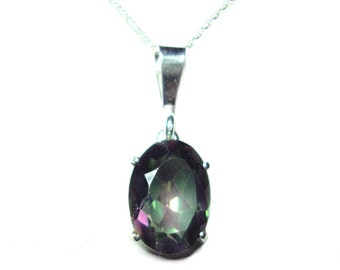 Mystic Topaz sterling silver pendant with chain