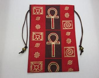 Egyptian Ankh Printed, Silk Lined Tarot Card Pouch, Tarot Card Bag