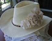 Ladies Cream Cowboy Hat,Handmade with  Handstitched Chiffon Roses with Pearls