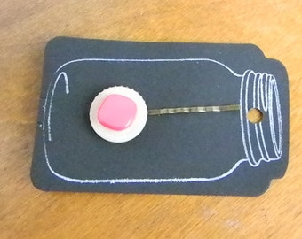 Vintage Cream and Pink  Button Button Bobbie Pin