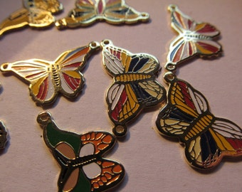 Vintage Assorted Butterfly Findings (6) Enamel with Loops