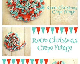 Retro Christmas Handmade Crepe Paper Fringe, Festooning, Trim, Garland, Decoration, Party, Craft Supply, Streamer, Scrapbooking, Red, Aqua