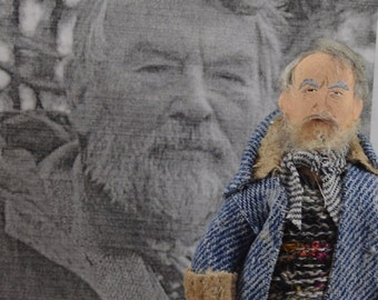British Writer John Fowles Author Doll Miniature Art Figurine Literary Figure