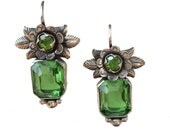 Flowers with green bead and same color crystal on bottom. Frida style, SALE