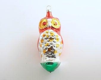Vintage Christmas Decoration Glass Owl Ornament Christmas Ornament Czechoslovakia