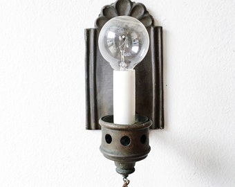 Vintage Mission Sconce - pressed tin, lamp, light