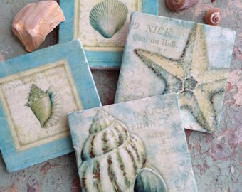 Oceanside stone coaster set