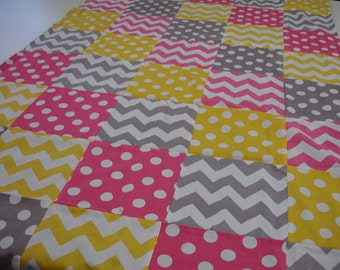 Hot Pink Yellow Gray Chevron and Dots  3 Piece Baby Crib Bedding Set MADE TO ORDER