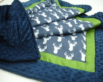 Deer Head Navy and Lime Green Patchwork Minky Blanket You Choose Size and Minky Color MADE TO ORDER No Batting