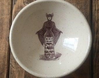 Bat Lady White Stoneware Earring Bowl