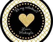 Valentine's Gold Black Glitter Heart round sticker label / cupcake topper / thank you tags for birthday party, baby shower, wedding CUSTOM