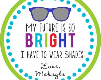 Bright Future Summer, end of school, teacher Thank You PERSONALIZED Stickers, Tags, Labels, or Cupcake Toppers, various sizes