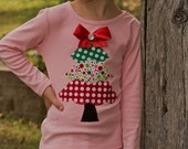 "Girls Christmas frilly  tree ""WHImSICAL TREeS"" collection pink tee shirt available in size 6-12-18-24 mth. 2T, 3/ 4T, 5/ 6T, 7/8"