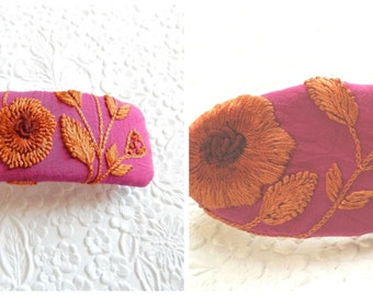 Deep pink hair barrettes,embroidered barrettes, floral barrettes, fabric barrettes, hair accessory, fashion accessory
