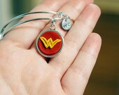 Wonder Woman Symbol Adjustable Bangle Bracelet -  Alex & Ani Inspired Style #31