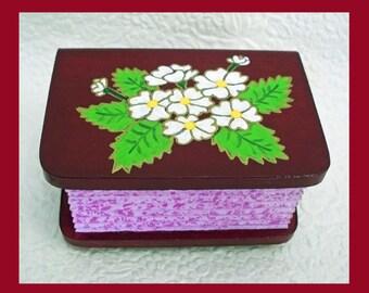 Red Velvet Trinket Box, Flower Trinket Box, Wood Trinket Box, Jewelry Holder, Unique Gift, Jewelry Organizer, Mother Daughter Gift, Flowers