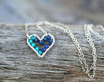 Turquoise and Lapis Lazuli Gemstone Wire Wrapped Sterling Silver Heart Pendant Necklace, Heart Jewelry, Tiny Heart Necklace, Blue Gemstone