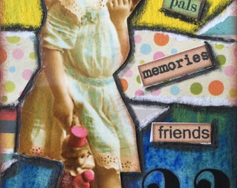 Friends Pals Memories Mixed Media ACEO on playing card