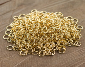 8mm OD Open Gold Plated Jump Rings 18 Gauge Made in the USA (100) fnd202D