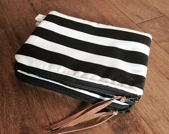 Black and White Striped Pouch