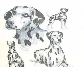 Dalmation Medley Design - Machine Embroidered Quilt Block