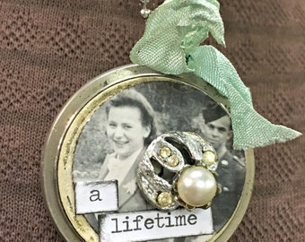Junk Jewelry, Necklace, Pocket Watch, Vintage Photo, Handmade, Art Necklace, Silvertone, Assemblage, Mixed Media, Collage, Vintage,  OOAK