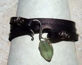 Black Leather Wrap -Sea Foam Green Sea Glass Bracelet -Seaglass Jewelry