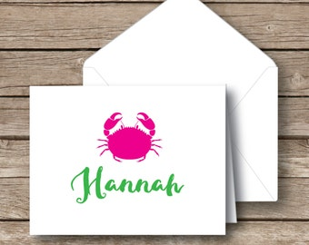 Personalized stationery, folded notecards, Preppy crab, thank you cards, stationery with envelopes, set of 10